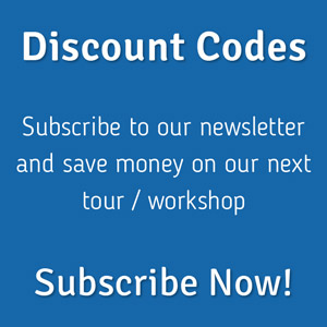 Subscribe to our newsletter and save money on our next tour and workshop