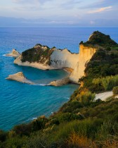 Sunset Light At Perulades Cliffs, Corfu Island, Greece