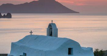 Panagia-Tourliani-Sunset,-Milos-Island,-Greece-2378