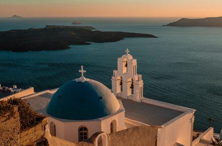St Gerasimos at sunset, Firostefani, Santorini, Greece